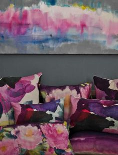 Bluebellgray's AW12 peony collection painted by hand in Fiona Douglas' Glasgow studio.