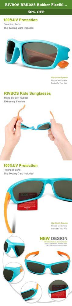 43a7639e30a RIVBOS RBK025 Rubber Flexible Kids Polarized Sunglasses Glasses Age 3-10  (Blue).