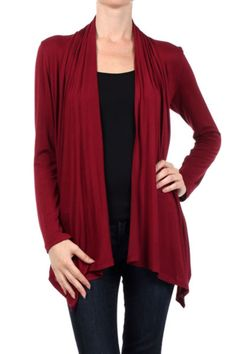 - Juniors Sizing, please order larger size for women's sizing - 95%Rayon 5%Spandex - USA - This long sleeve open front cardigan features a soft knit fabric, relaxed fit, draped open front design, and