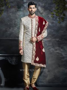 Go classic with this designer Sherwani. A Cream printed Silk sherwani featured with zari and stone embroidery all over. Comes with Golden Cotton Silk churidar and Velvet designer stole to bring out the best of your wedding look. Wedding Outfits For Groom, Indian Wedding Outfits, Wedding Wear, Indian Outfits, Indian Clothes, Farm Wedding, Wedding Couples, Boho Wedding, Wedding Reception