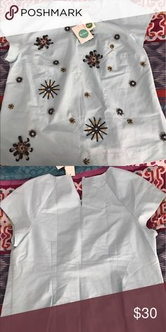 Embellished Biden Blouse 10 NWT Boden blouse size 10. Reposhing! Only tried on! One bead missing but can be replaced with beads attached to tag! Boden Tops Blouses