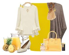 """""""Pineapple"""" by winscotthk ❤ liked on Polyvore featuring Oui, J.Crew, Prada, Just Cavalli, Buccellati, Louche, Salvatore Ferragamo, Charlotte Russe and Elie Saab"""