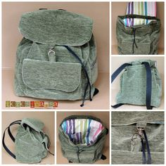 A really good backpack tutorial in Portuguese. Backpack Tutorial, Diy Backpack, Purse Tutorial, Bag Patterns To Sew, Sewing Patterns, Mochila Tutorial, Sewing Hacks, Sewing Projects, Mochila Jeans