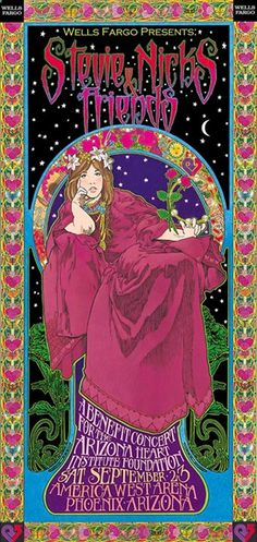Stevie Nicks poster by by Bob Masse. Bob produced memorable concert posters for bands as far back as the 60s, and helped pioneer the emerging psychedelic art genre.
