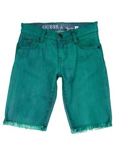We love dark green denim shorts for boys, now available on Spree (R429). #guess #boysfashion #kids