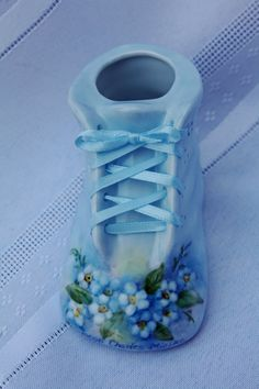 Baby Shoe, personalized,hand painted porcelain in pink or blue