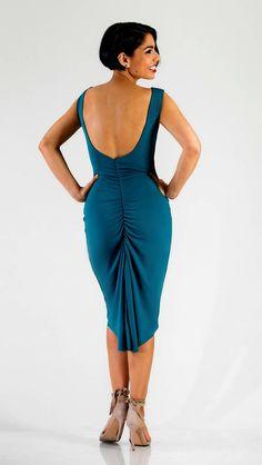 Tango Milonga Dress Reversible Low Back Slit Split Tail
