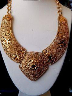 Vintage BARRERA Signed  Avon Gold BIG Leaf Scroll Chain Cleopatra Necklace  #Unbranded