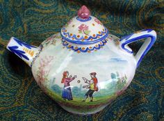 French teapot with circus performers, circa: 1900 from CA (Alcide Chaumeil). Photo courtesy www.countryfrenchpottery.com