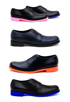 Jil Sander neon lace up men's shoes. Wow!