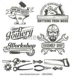Find Logos Working Stuff Emblems Carpentry Workshop stock images in HD and millions of other royalty-free stock photos, illustrations and vectors in the Shutterstock collection. Woodworking Bench Plans, Woodworking Logo, Woodworking Workshop, Woodworking Books, Logo Inspiration, Logo Atelier, Art And Craft Images, Logos, Find Logo