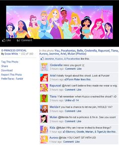 Disney princesses on facebook...