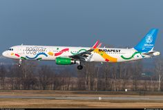 Wizz Air Airbus A321-231(WL) HA-LXJ aircraft, painted in ''Budapest 2024 Olympic Bid'' special colours Nov 2016 , with the inscription ''Budapest Candidate City for the 2024 Summer Olympics'' on the airframe, on short finals to Hungary Budapest Ferenc Lizst International Airport. 06/12/2016.