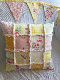 Yellow Shabby Patchwork Throw Pillow, Shabby Patchwork Nursery Pillow, Shabby Chic Pillow with Roses, Cottage Chic Pillow, Ready to Ship by TwostitchHill on Etsy https://www.etsy.com/listing/264597350/yellow-shabby-patchwork-throw-pillow