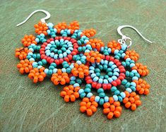 Seed Beaded Earrings, Mandala Flower in Orange and Turquoise. Circular stitch. Handmade Delicate Earrings.