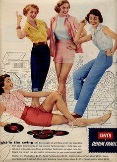 Levi's Denim Family. Women's. Female. Gals. Vintage ad. Denim.