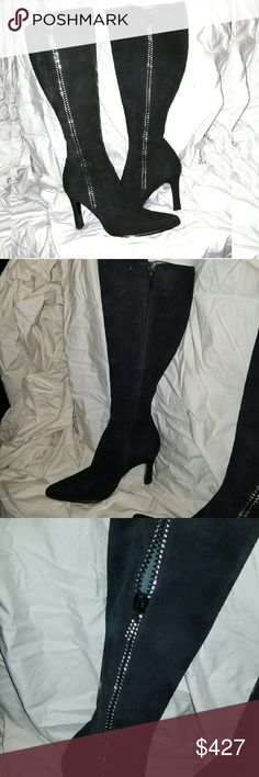 OMG!! Giuseppe Zanotti BOOTS!! ?? black suede feels like chinchilla (puuuurrrrrr). Crystal zipper (have you ever seen anything like this before?) that is an actual working zipper.  but...you're supposed to use the normal zipper on the inside ??.   I had my cobbler reinforce the toe, so the leather sole doesn't wear into the suede. unfortunately (for me) they're too skinny around the calf and, damn it!, I can't get these fecking boots on!  they are so beautiful...writing this is making me cry…