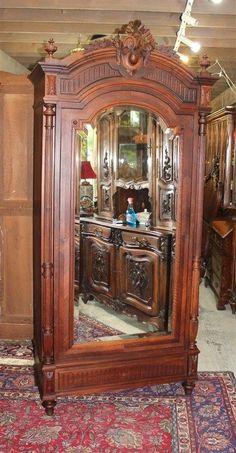 French Antique Single Door Rosewood Louis XVI One Door Armoire #LouisXVI
