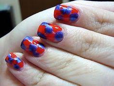 Nails & Nail Art ♥ / Blue & Red blob manicure