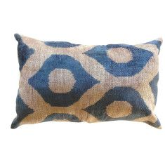 Silk & velvet Turkish ikat cushion in blue eye pattern. There are more in this range - beautiful jewel colours but expensive : (