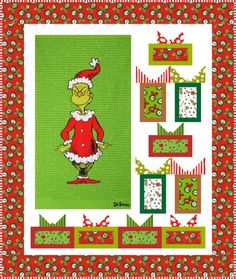 Wrapped with Care quilt, designed by It's Sew Emma using the newest How the Grinch Stole Christmas collection. Offered as a FREE pattern from Robert Kaufman Fabrics. Christmas Sewing, Christmas Quilting, Christmas Crafts, Christmas Stuff, Christmas Ideas, Fabric Panel Quilts, Cotton Quilting Fabric, Quilting Projects, Sewing Projects