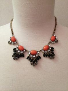Coral & Black Statement Necklace by BellaHarperBoutique on Etsy