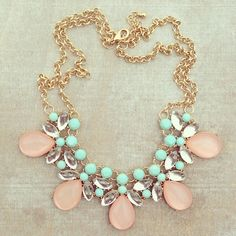 Pale pink and mint statement necklace