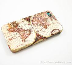 Vintage Old Retro World Map iPhone 4 Case, iPhone 4s Case, iPhone 4 Cover, Hard iPhone 4 Case - antique map. $18,00, via Etsy.