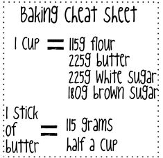 Baking cheat sheet.