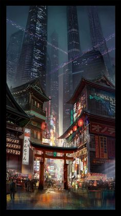 Cyberpunk The combination of familiar, traditional architectural cues stand out with beautiful new freshness when combined with a futuristic, sci-fi color palette. Cyberpunk City, Cyberpunk Kunst, Futuristic City, Futuristic Architecture, Fantasy City, Fantasy World, Fantasy Landscape, Landscape Art, Sci Fi City