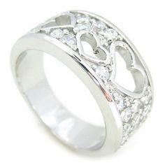 Romantický výrazný stříbrný prsten se zirkony a motivem srdíček...
