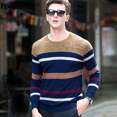 High Quality Merino Wool Sweater Men Clothing Knitted Cashmere Sweaters Fashion Striped O-Neck Pullover Men