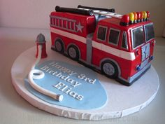 Birthday Cakes For Men, Woody Birthday, Truck Birthday Cakes, Truck Cakes, Homemade Birthday Cakes, Fireman Sam Cake, Fireman Party, Firefighter Wedding Cakes, Fire Engine Cake