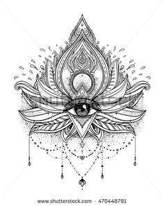 Vector ornamental Lotus flower, all-seeing eye, patterned Indian paisley. Hand…
