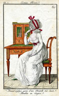 Book cabinet and writing desk. Costume Parisien, an outrageous Dormuse cap