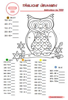 Daily Exercises Subtraction in ZR up to 1000 ABC weight Activities For 1st Graders, Math Activities For Kids, Math For Kids, Educational Activities, Teaching Kids, Kids Learning, Daily Planner Pages, Daily Planner Printable, Bullet Journal Yearly