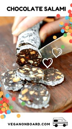 This decadently delicious chocolate salami is always a hit! Surprise your guests with this no bake d Vegan Dark Chocolate, Cooking Chocolate, Delicious Chocolate, Chocolate Heaven, Chocolate Salami Recipe, Chocolate Cookies, Chocolate Recipes, Raw Desserts, Dessert Recipes