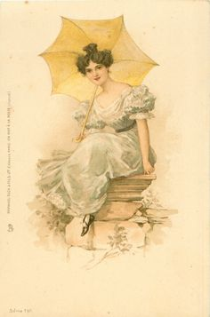 girl dressed in white sits on stone pedestal holding yellow parasol behind her