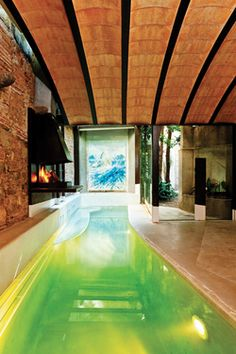 Modern Design & Architecture  pool and fireplace
