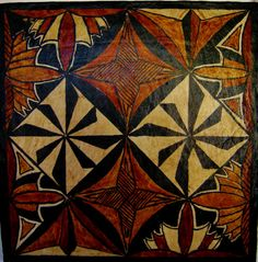 South Pacific Island tapa hand painted mounted on board vintage original Polynesian art
