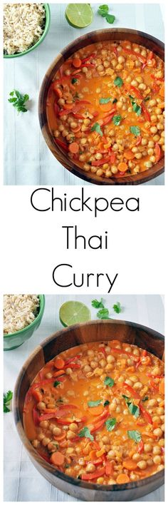Thai Chickpea Curry. Mildly sweet from the peppers and coconut milk, and slightly spicy from the Thai curry paste and red pepper flakes. This dish should last at least 5 days in the fridge. Enjoy!