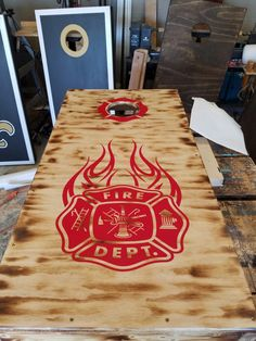 Firefighter Decor ideas and photos for those warrior Fighting with fire everyday to keep us safe. Firefighter Home Decor, Firefighter Family, Firefighter Apparel, Firefighters Wife, Firefighter Quotes, Volunteer Firefighter, Firemen, Cornhole Boards, Cornhole Scoreboard