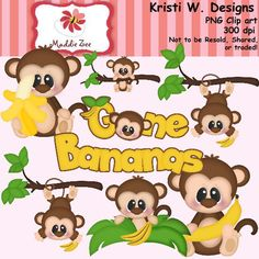 Gone Bananas 1 Clipart Digital Download by MaddieZee on Etsy