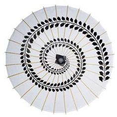 Black Swirl Print Paper and Bamboo Parasol