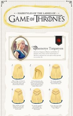 Daenerys Targaryen`s great braid hairstyle tutorial. Bigger size illustration and other ladies are in the page.