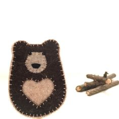 FELT BEAR brooch  handcrafted from 100% wool felt by StillLifeHome