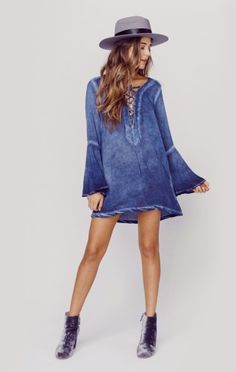 Lace Up Tunic Dress | Blue Life | Planet Blue
