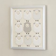 A Lamb Themed Nursery Our Furry Little Sheep Decorate This Stunning Wall Decor Complete With Silver Metallic Frame Saw Tooth Hangers Are Attached To The