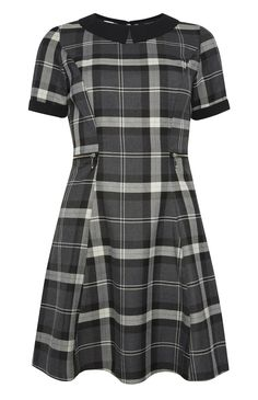Grey Check Fit And Flare Collar Dress