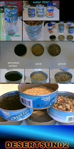 """Homemade Water Filter! The 3-stage """"Tuna-Can"""" water purifier! simple to make. works fast. made with 3 tuna cans, a plastic bottle and coffee filters (along with sand, gravel and activated carbon). great for SHTF Emergency, camping/hiking, off-gridding or everyday use. *the 3 cartridge system keeps each level separate so mixing won't occur. yt desertsun02"""